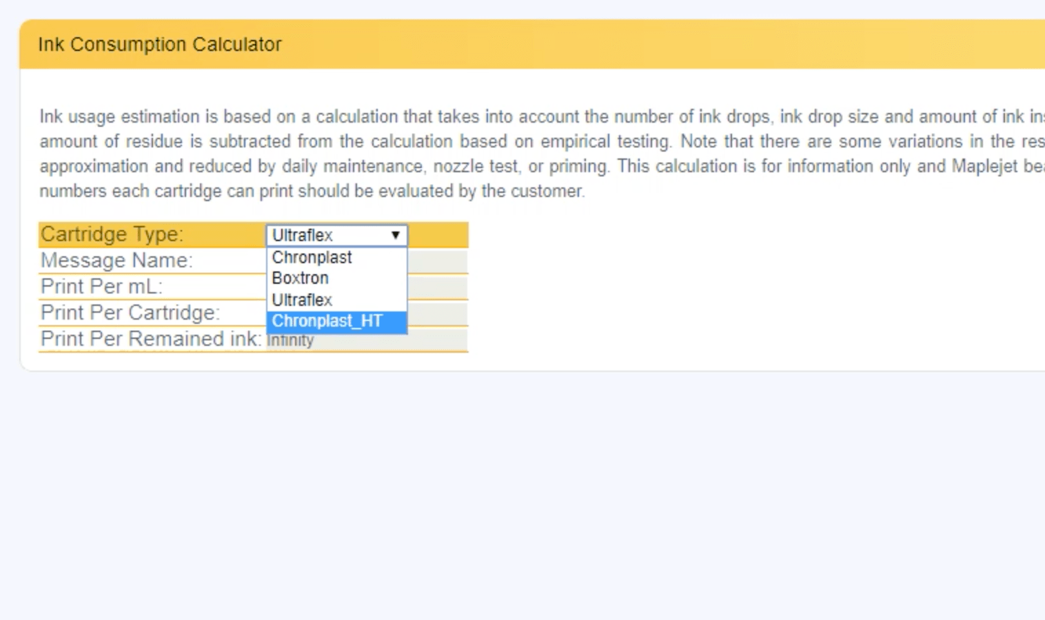 Ink Consumption Calculator a newly added feature to Hx Manager version 21