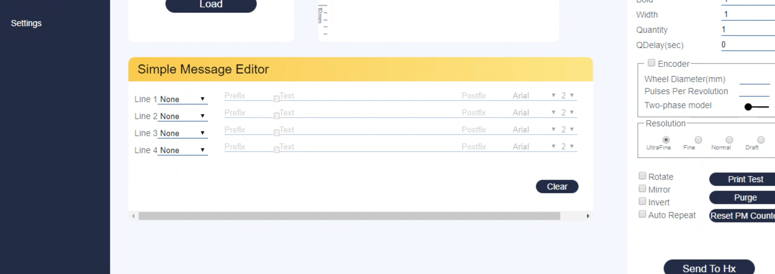 Designing Four-line message using Simple Message Editor in Hx Manager