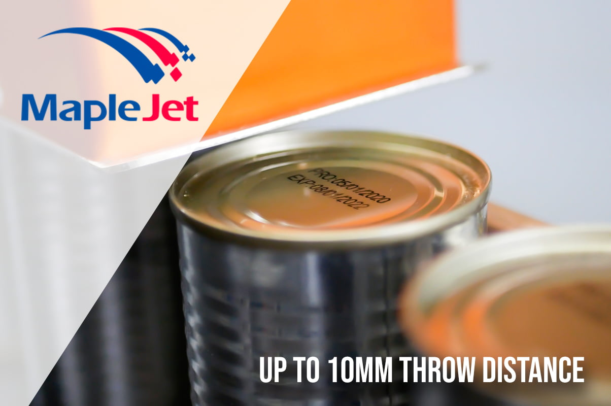 Industrial inkjet printer printing on tin cans