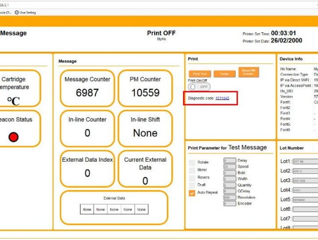 How to use Diagnostic Code to help understand your Hx Nitro printer status